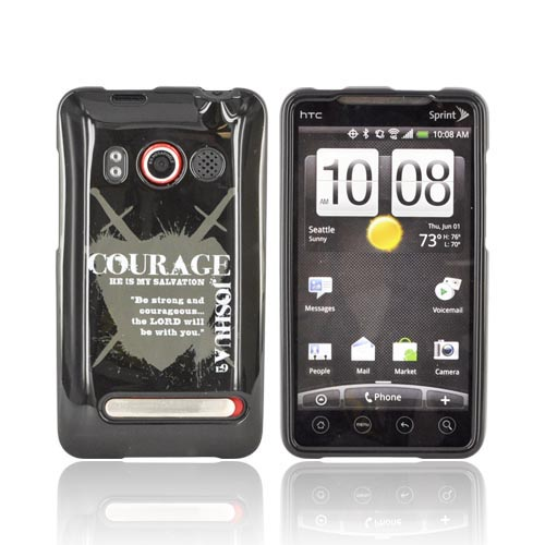 HTC Evo 4G Passion Series Hard Case - Gray Courage Joshua 1:9 on Black