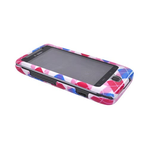 T-Mobile G2 Hard Case - Hot Pink/Blue Argyle Patterns on White