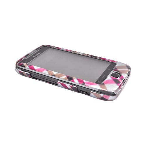 T-Mobile G2 Hard Case - Checkered Design of Pink, Hot Pink, Brown, Grey