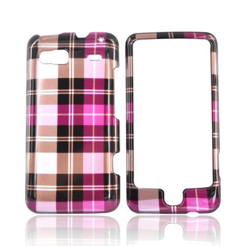 Luxmo T-Mobile G2 Hard Case - Plaid Pattern of Hot Pink, Brown, Gray