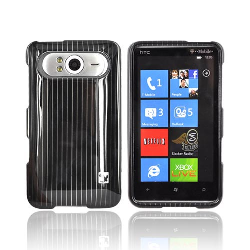 Luxmo HTC HD7 / HTC HD7s Hard Case - Silver Lines on Black