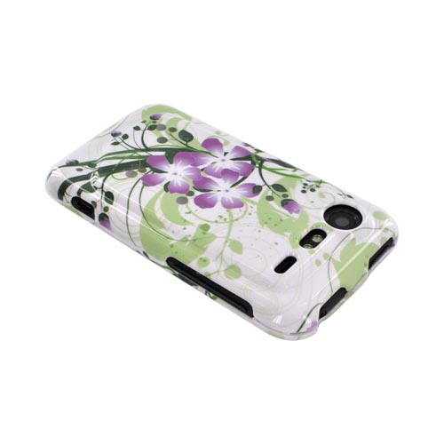 HTC Droid Incredible 2 Hard Case - Purple Lilly on Green/ White