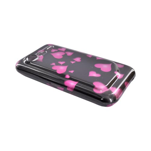 HTC Droid Incredible 2 Hard Case - Pink Raining Hearts on Black