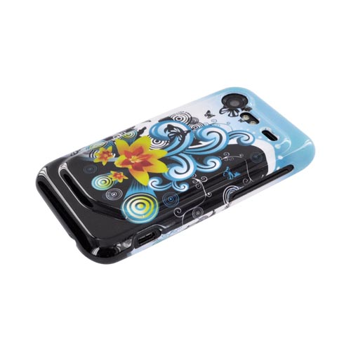 HTC Droid Incredible 2 Hard Case - Yellow Lilly & Swirls on Turquoise/Black