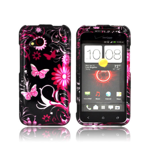 HTC Droid Incredible 4G LTE Hard Case - Pink Flowers and Butterflies on Black