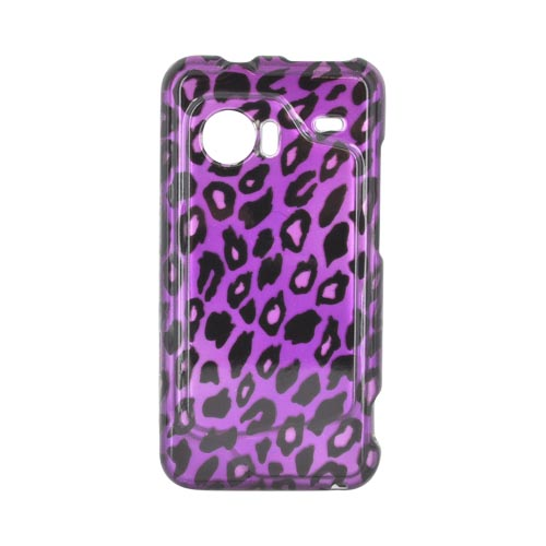 HTC Droid Incredible Hard Case - Purple/ Black Leopard