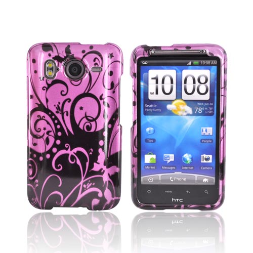 HTC Inspire 4G Hard Case - Black Swirls Design on Purple