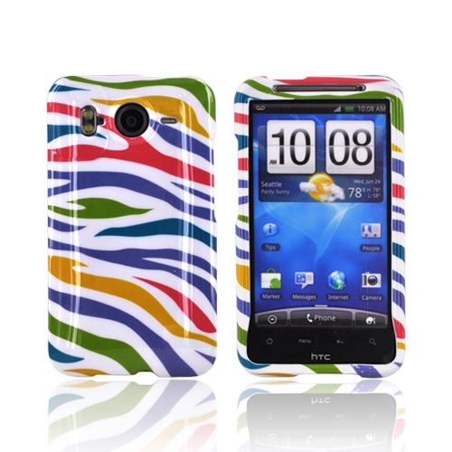 HTC Inspire 4G Hard Case - Rainbow Zebra on White