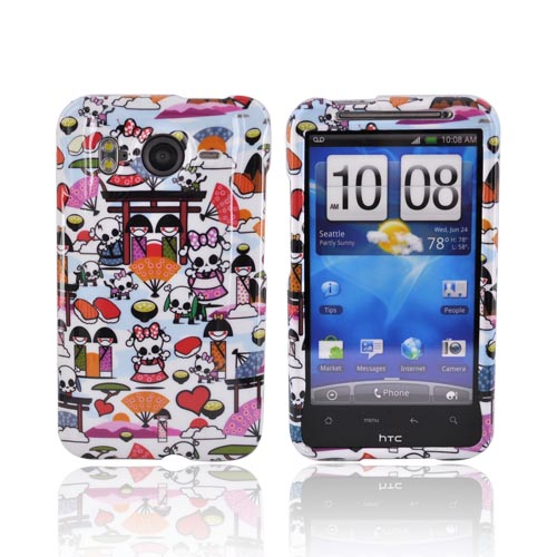 HTC Inspire 4G Hard Case - Kawaii Baby Skull Design on White