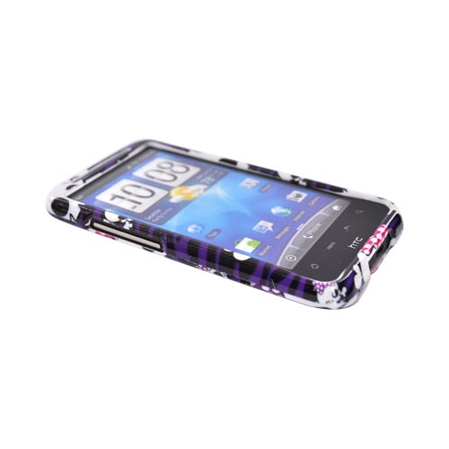 HTC Inpsire 4G Hard Case - White Skulls on Purple Zebra