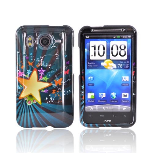 HTC Inpsire 4G Hard Case - Big Star w/ Butterflies on Blue/Black