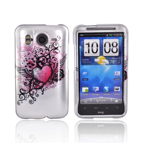 HTC Inpsire 4G Hard Case - Pink Heart Wing on Silver