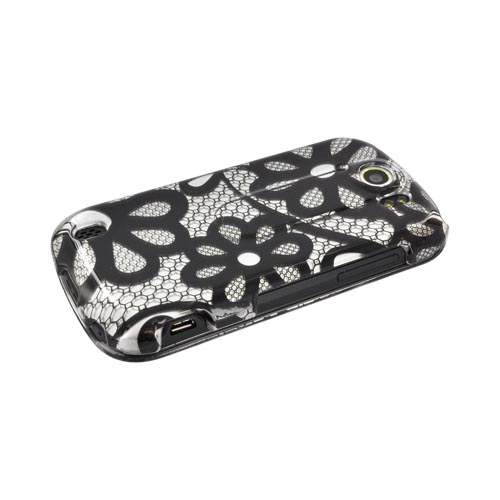 HTC Mytouch 4G Slide Hard Case - Black Lace Flowers on Silver