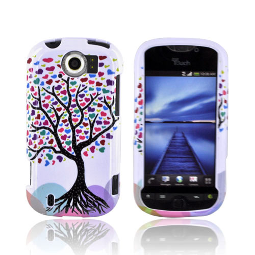 HTC Mytouch 4G Slide Hard Case - Black Tree w/ Multi-Color Hearts on White