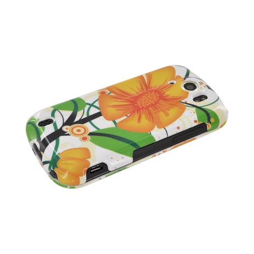 HTC Mytouch 4G Slide Hard Case - Big Orange Flower on White