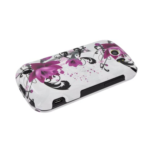 HTC Mytouch 4G Slide Hard Case - Pink Flowers on White