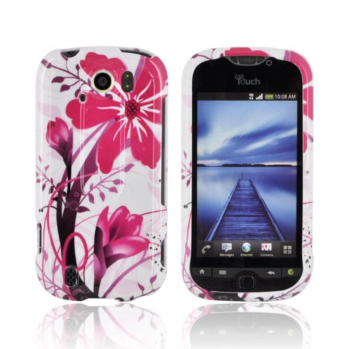 HTC Mytouch 4G Slide Hard Case - Pink Flower Splash on White