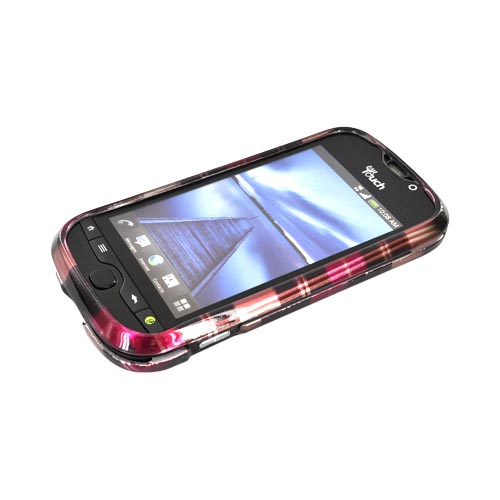 HTC Mytouch 4G Slide Hard Case - Plaid Pattern of Pink, Hot Pink, Brown, & Silver