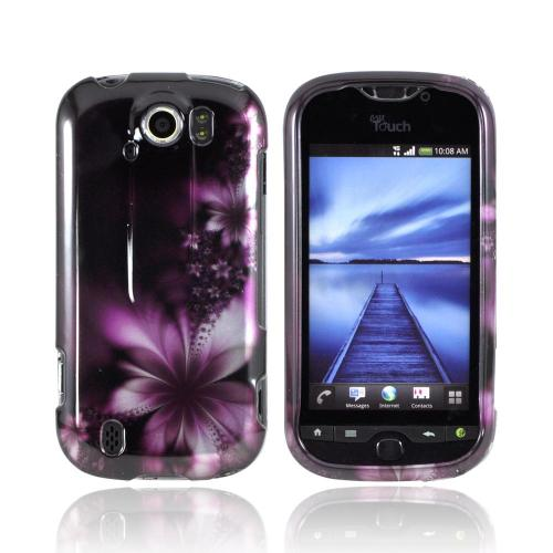 HTC Mytouch 4G Slide Hard Case - Purple Flowers on Black