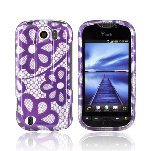 HTC Mytouch 4g Slide Hard Case - Purple Lace Flowers On S...