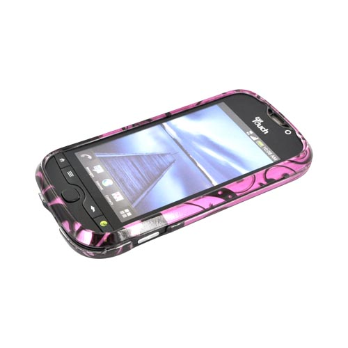 HTC Mytouch 4G Slide Hard Case - Black Swirls Design on Purple