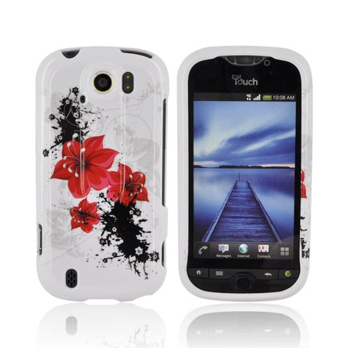 HTC Mytouch 4G Slide Hard Case - Red Lilly Flower on White