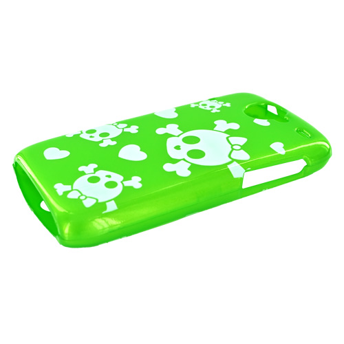 Google Nexus One Hard Case w/ Screen Protector - White Skulls and Hearts on Neon Green