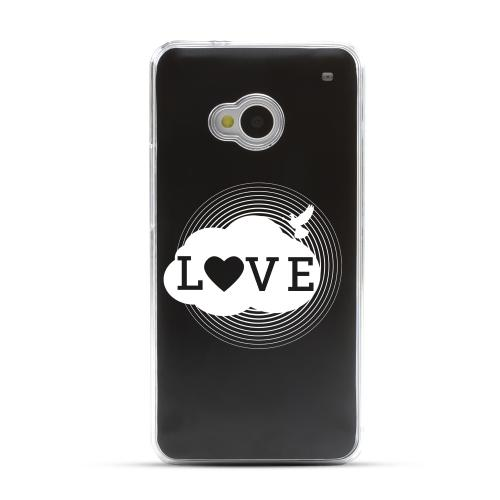 Love Cloud - Geeks Designer Line Laser Series Black Aluminum Back on Clear Hard Case for HTC One