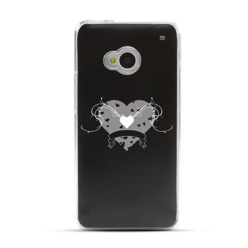 Heart Swirls - Geeks Designer Line Laser Series Black Aluminum Back on Clear Hard Case for HTC One