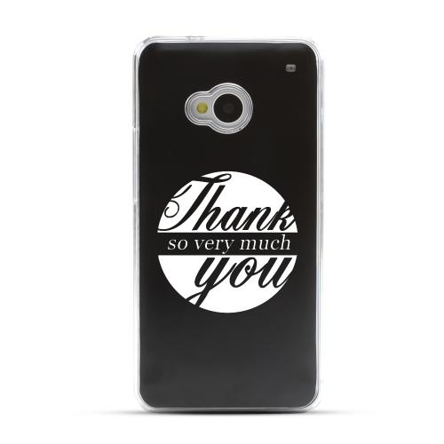 Thank You So Very Much - Geeks Designer Line Laser Series Black Aluminum Back on Clear Hard Case for HTC One