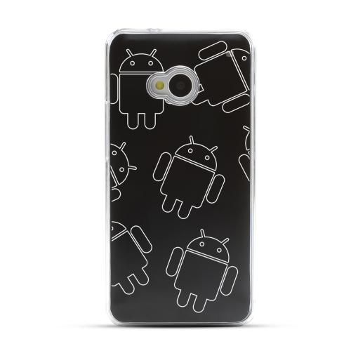 Androitastic - Geeks Designer Line Laser Series Black Aluminum Back on Clear Hard Case for HTC One