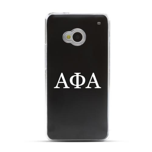 Alpha Phi Alpha - Geeks Designer Line Laser Series Black Aluminum Back on Clear Hard Case for HTC One