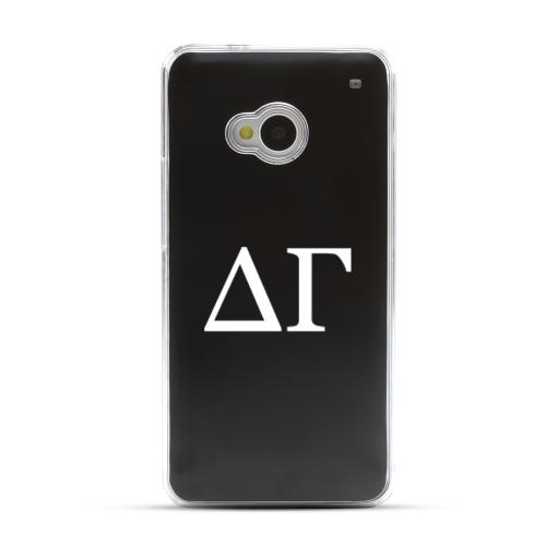 Delta Gamma - Geeks Designer Line Laser Series Black Aluminum Back on Clear Hard Case for HTC One