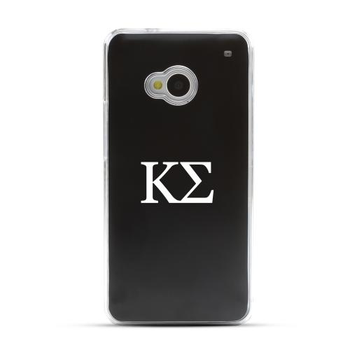 Kappa Sigma - Geeks Designer Line Laser Series Black Aluminum Back on Clear Hard Case for HTC One