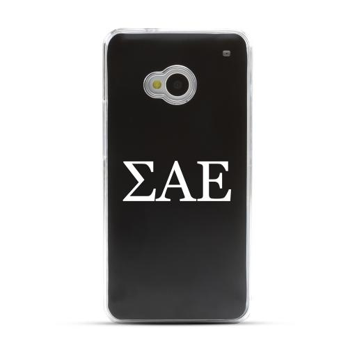 Sigma Alpha Epsilon - Geeks Designer Line Laser Series Black Aluminum Back on Clear Hard Case for HTC One