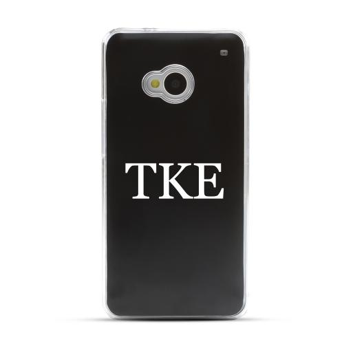 Tau Kappa Epsilon - Geeks Designer Line Laser Series Black Aluminum Back on Clear Hard Case for HTC One