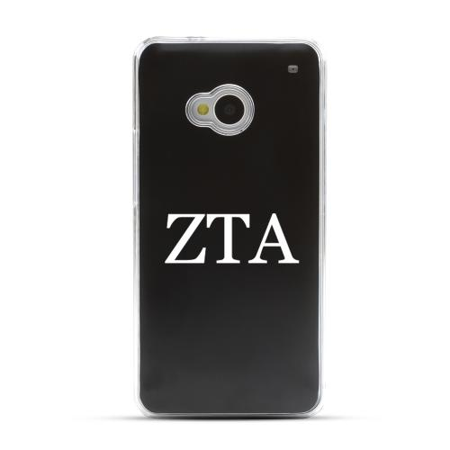 Zeta Tau Alpha - Geeks Designer Line Laser Series Black Aluminum Back on Clear Hard Case for HTC One