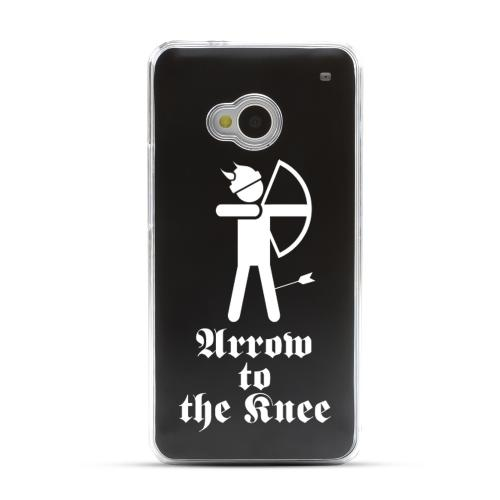 Arrow to the Knee - Geeks Designer Line Laser Series Black Aluminum Back on Clear Hard Case for HTC One