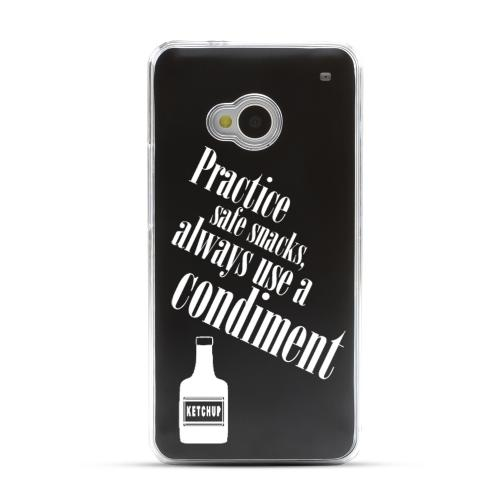 Practice Safe Snacks - Geeks Designer Line Laser Series Black Aluminum Back on Clear Hard Case for HTC One