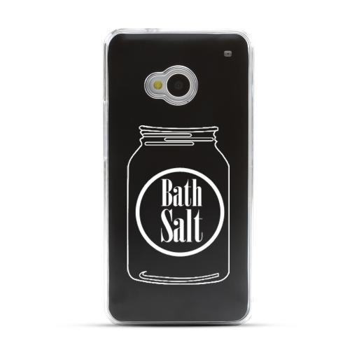 Bath Salt Jar - Geeks Designer Line Laser Series Black Aluminum Back on Clear Hard Case for HTC One