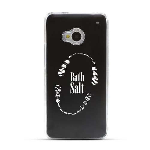 Bath Salt Teeth - Geeks Designer Line Laser Series Black Aluminum Back on Clear Hard Case for HTC One