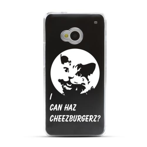 I Can Haz Cheezburgerz? - Geeks Designer Line Laser Series Black Aluminum Back on Clear Hard Case for HTC One