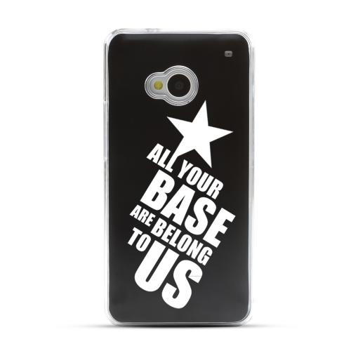 All Your Base Are Belong To Us - Geeks Designer Line Laser Series Black Aluminum Back on Clear Hard Case for HTC One