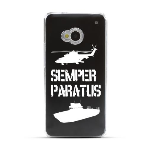 Coast Guard - Geeks Designer Line Laser Series Black Aluminum Back on Clear Hard Case for HTC One