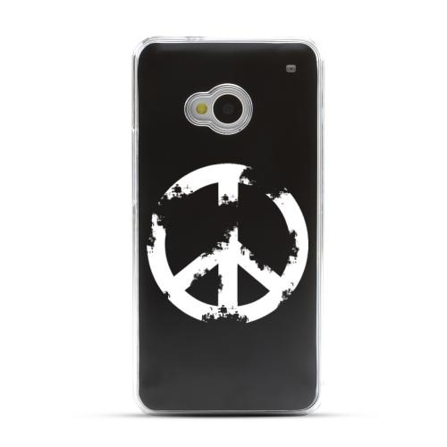 Grunge Peace Sign - Geeks Designer Line Laser Series Black Aluminum Back on Clear Hard Case for HTC One