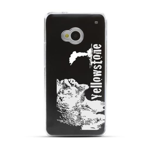 Yellowstone - Geeks Designer Line Laser Series Black Aluminum Back on Clear Hard Case for HTC One