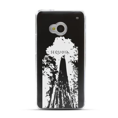Sequoia Tree - Geeks Designer Line Laser Series Black Aluminum Back on Clear Hard Case for HTC One