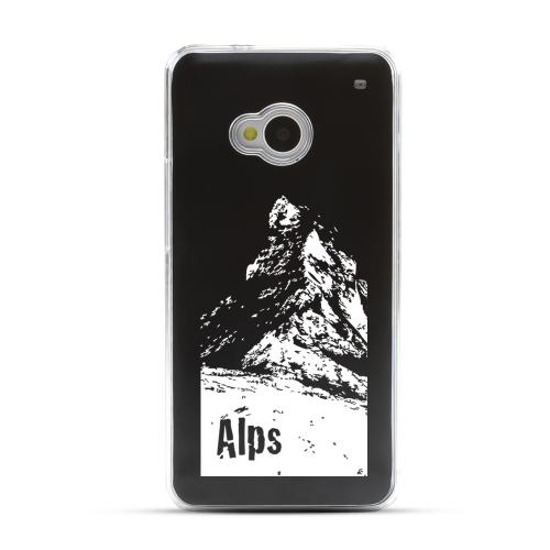 The Swiss Alps - Geeks Designer Line Laser Series Black Aluminum Back on Clear Hard Case for HTC One