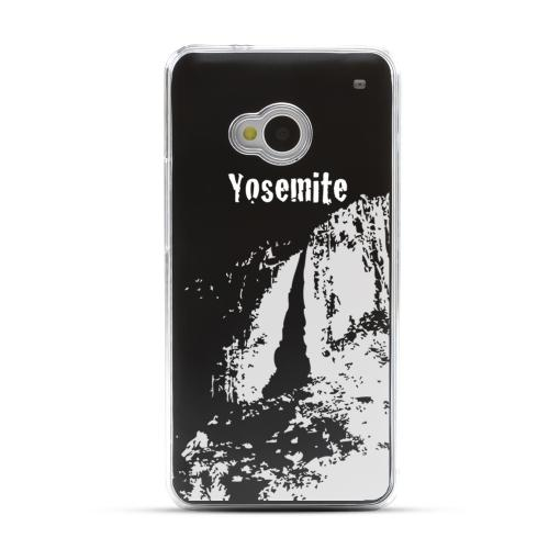 Yosemite - Geeks Designer Line Laser Series Black Aluminum Back on Clear Hard Case for HTC One