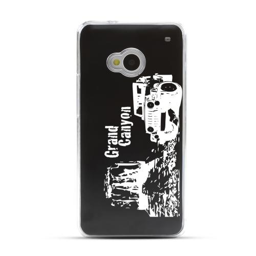 Grand Canyon - Geeks Designer Line Laser Series Black Aluminum Back on Clear Hard Case for HTC One